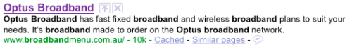 Optus Broadband Menu