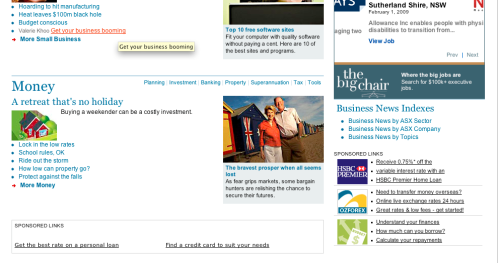 Low yielding HSBC ad - significantly below the fold, little or chance of engagement or a click