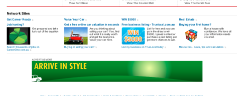 Europcar - Display ad at bottom of page significantly below the fold