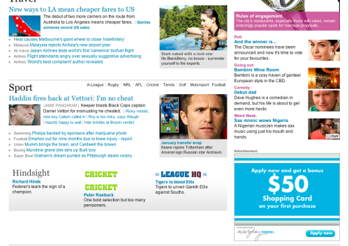 Woolworths Everyday Money - Ad at bottom of page below the fold, little or no post click value